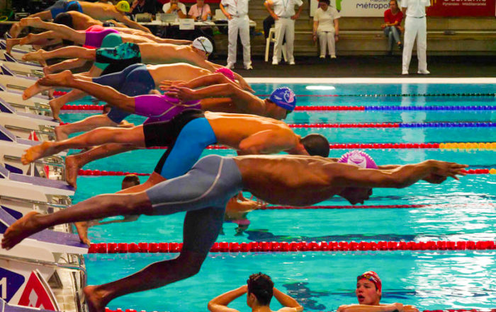 Photograph of a dive during the French swimming Championship