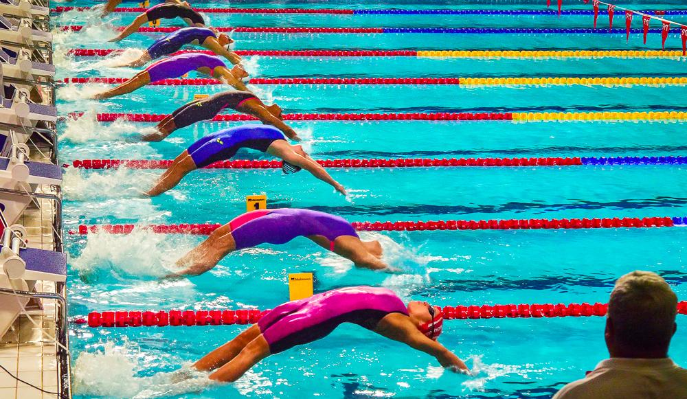 Photographie prise lors du championnat de France de natation, RV