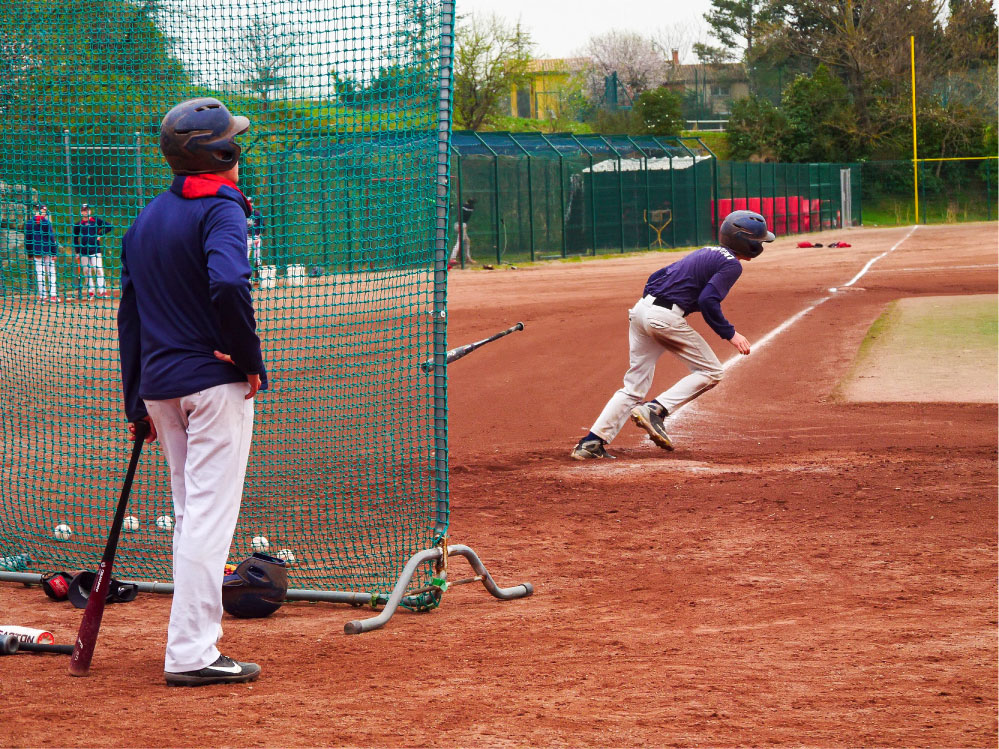 Baseball players in action, Jacques Joffre